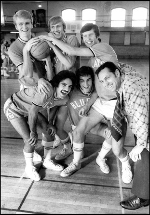 "Bluejay seniors pose with coach Eddie Sutton on October 12, 1973. Top Row, from left: Gene Harmon, Ted Wuebben, Ralph Bobik. Bottom row, from left: Jim ""Bimbo"" Pietro, Richie Smith and Sutton. PHIL JOHNSON/THE WORLD-HERALD Creighton University basketball. October 12, 1973"